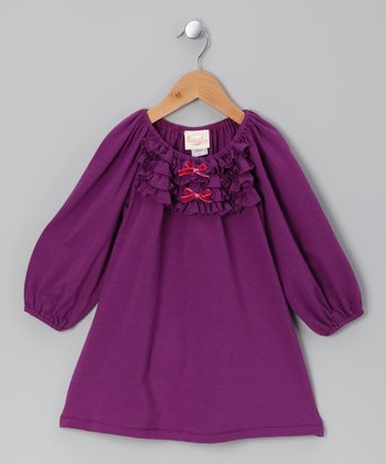 Purple Ruffle Shift Dress - Toddler & Girls