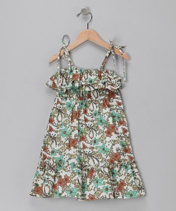 Green Floral Tie-Sleeve Dress - Toddler & Girls