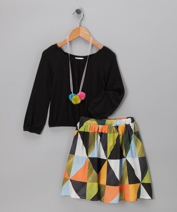 Black Pom-Pom Geometric Skirt Set - Girls