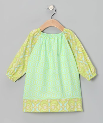 Lime Honeycomb Peasant Dress - Infant