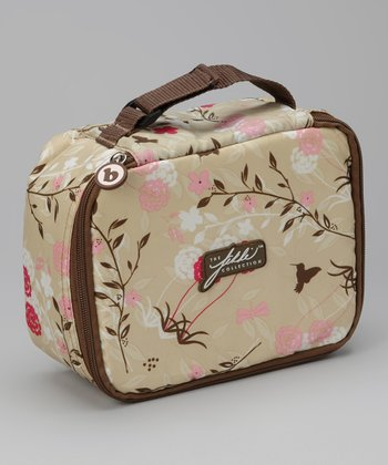Brown & Pink Flutter Floral Lunch Box