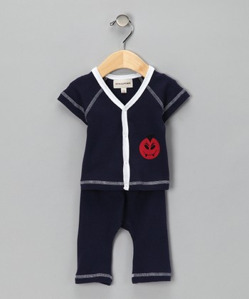 Navy Mayo Monster Organic Button-Up Top & Pants - Infant
