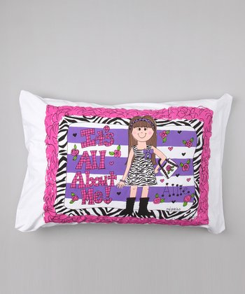Brown-Haired 'All About Me' Personalized Standard Pillowcase