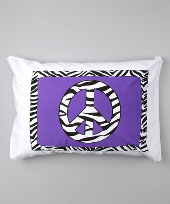 Purple Zebra Peace Sign Personalized Standard Pillowcase