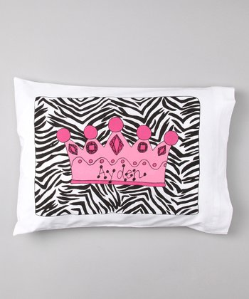 Zebra Crown Personalized Toddler Pillow