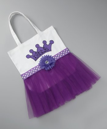 Purple Polka Dot Personalized Tutu Tote