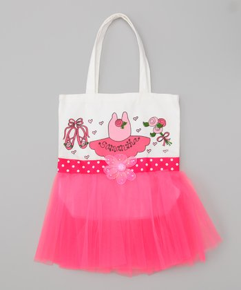 Hot Pink Polka Dot Personalized Tutu Tote