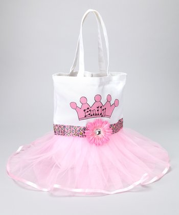 Light Pink Cheetah Personalized Tutu Tote