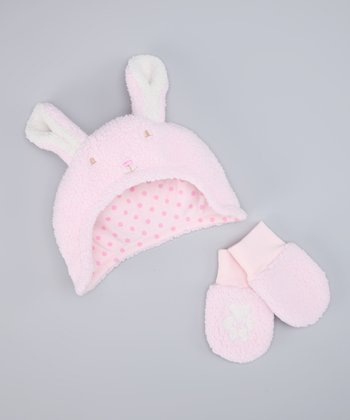 Bunnies by the Bay Pink Blossom Sherpa Earflap Beanie & Mittens