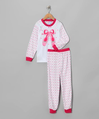 White & Pink Ballet Pajama Set - Toddler