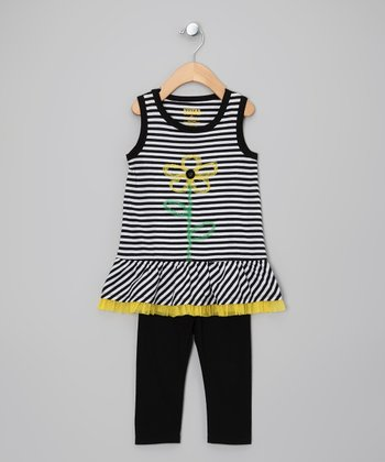 Black & White Stripe Tunic & Leggings - Toddler