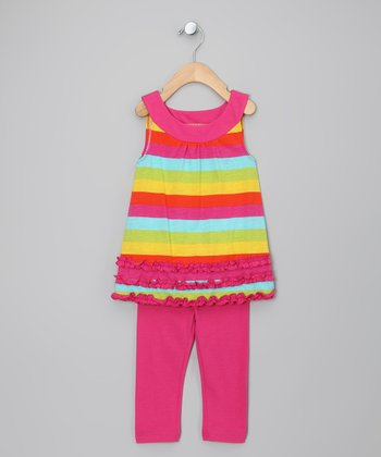 Pink & Yellow Stripe Tunic & Leggings - Girls