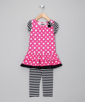 Pink & Black Polka Dot Tunic & Leggings - Girls