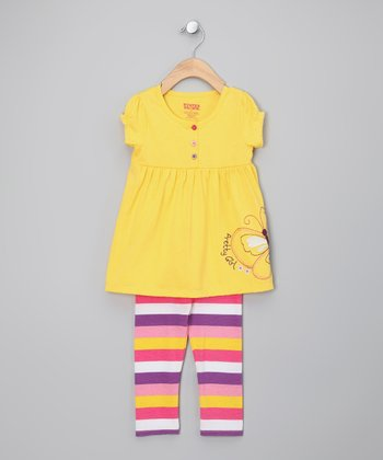 Yellow Butterfly Tunic & Leggings - Infant