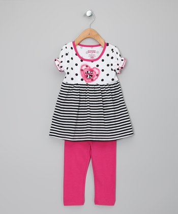 Pink & White Stripe Tunic & Leggings - Toddler