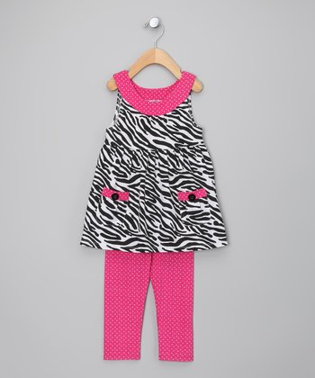 Pink & Black Zebra Tunic & Leggings - Infant