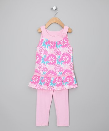 Pink & Blue Flower Tunic & Leggings - Infant