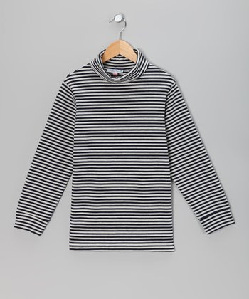 Navy & Cream Stripe Turtleneck - Infant, Toddler & Boys