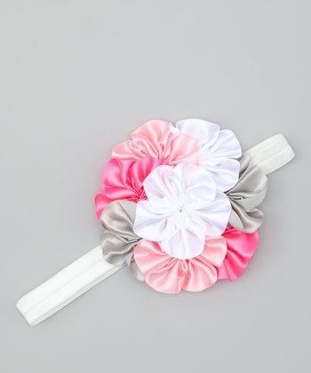 Pink & Gray Bouquet Headband