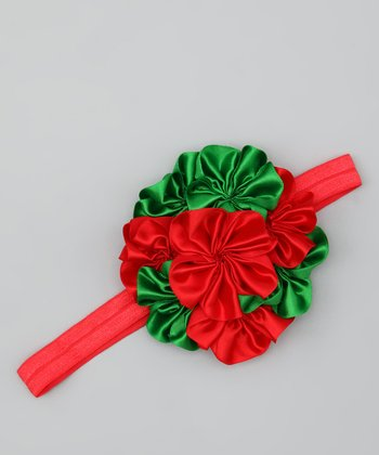 Red & Green Bouquet Headband