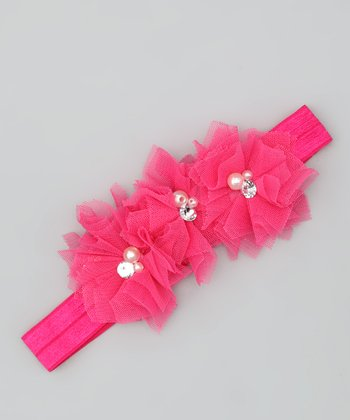Hot Pink Tulle Triple Flower Headband