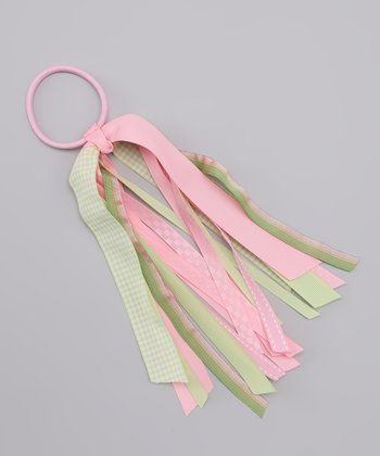 Pink & Lime Plaid Streamer Hair Tie
