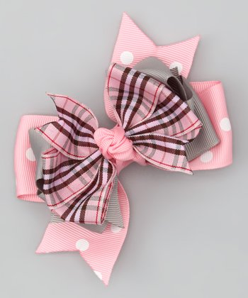 Pink & Gray Plaid Bow Clip