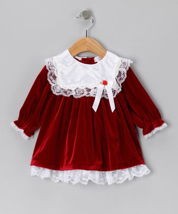 Red Lace Velour Dress - Infant