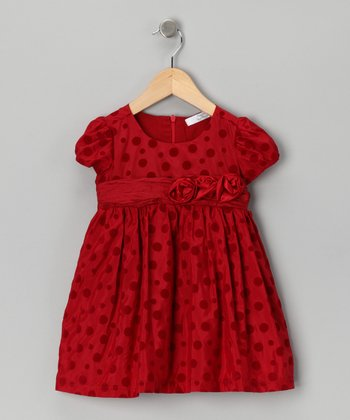 Red Polka Dot Rose Dress - Infant, Toddler & Girls