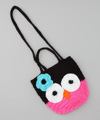 Fuchsia & Black Owl Crocheted Bag