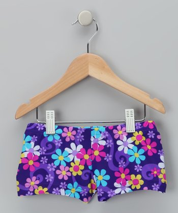 Purple Floral Betsy Shorts - Girls