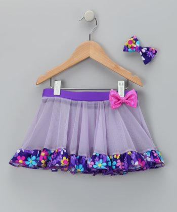 Purple Betsy Skirt & Bow - Girls