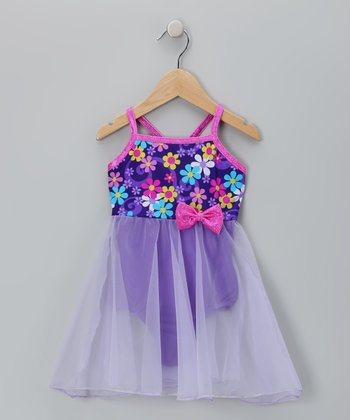 Purple Floral Skirt Betsy Leotard - Girls