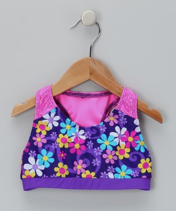 Purple Floral Betsy Sports Bra - Girls
