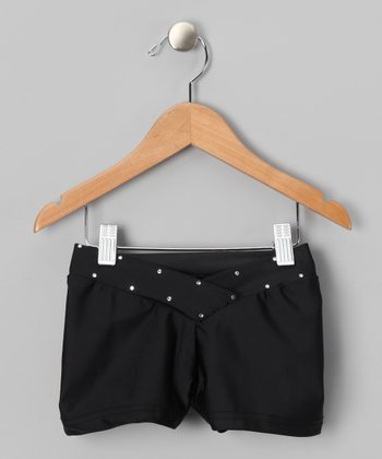 Black Rhinestone Shorts