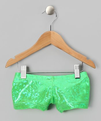 Lime Foil Shorts - Toddler & Girls