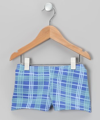 Blue Plaid Dance Shorts - Girls