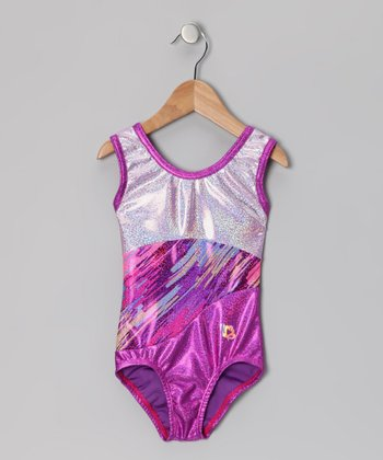 White & Violet Quartz Foil Leotard