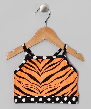 Butterfly TREASURES Orange Zebra Sports Bra - Girls