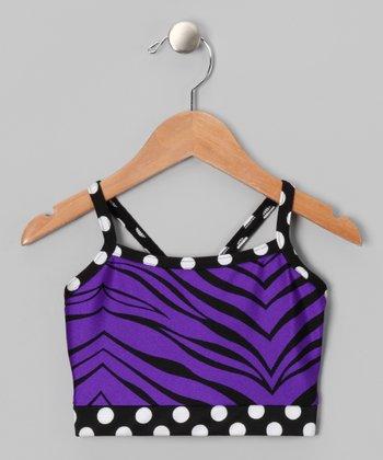 Butterfly TREASURES Purple Zebra Sports Bra - Girls