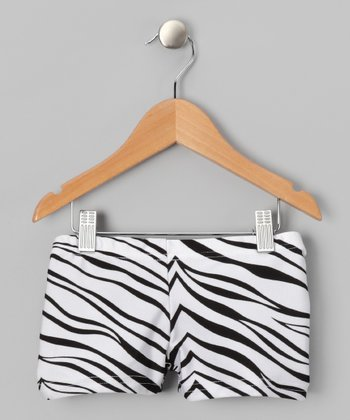 White & Black Zebra Shorts - Girls
