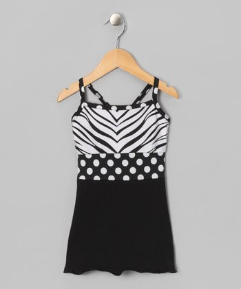 White & Black Zebra Tank - Girls