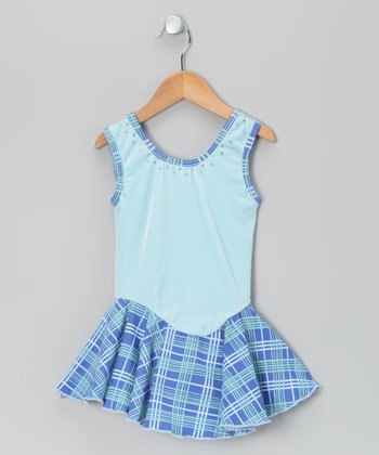 Blue Plaid Velvet Skating Dress - Girls