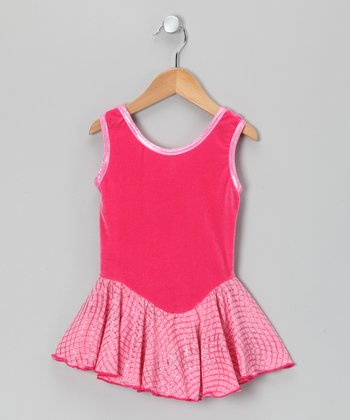 Hot Pink Velvet Skating Dress - Girls