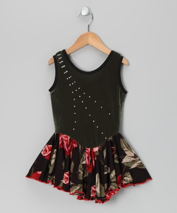 Sage Rose Velvet Skating Dress - Girls