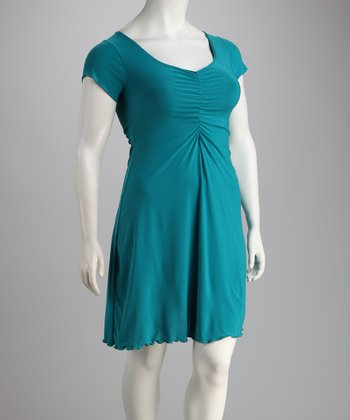 Teal Gathered Dress - Plus