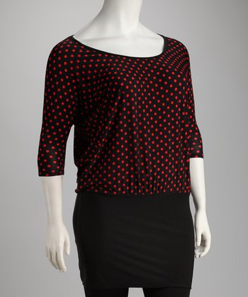 Black & Red Polka Dot Plus-Size Top