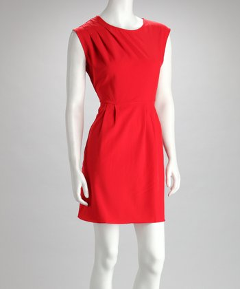 Red Sleeveless Pocket Dress