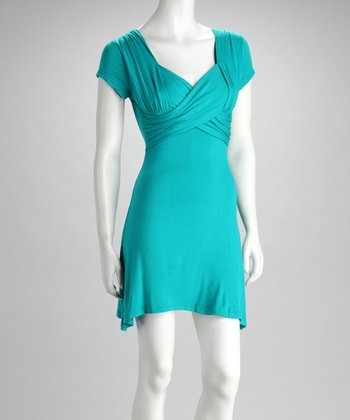 Turquoise Drape Neck Surplice Dress