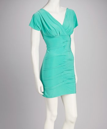 Turquoise Ruched Surplice Dress